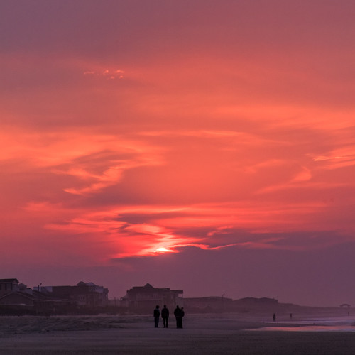 morning red people beach clouds sunrise dawn nc northcarolina atlantic