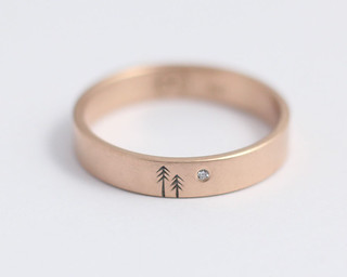 Pine and Moon Wedding Band | by Ash Hilton Jewellery