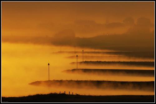 rhine river fog haze gelderland heteren rijn rivier mist kribben nederrijn holland netherlands morning golden hour sony minolta