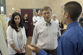Bill Gates spoke at Pomona's Bridges Auditorium in 2011. While on campus, he met with students from Pomona College and Harvey Mudd College, both of which sponsored the event.