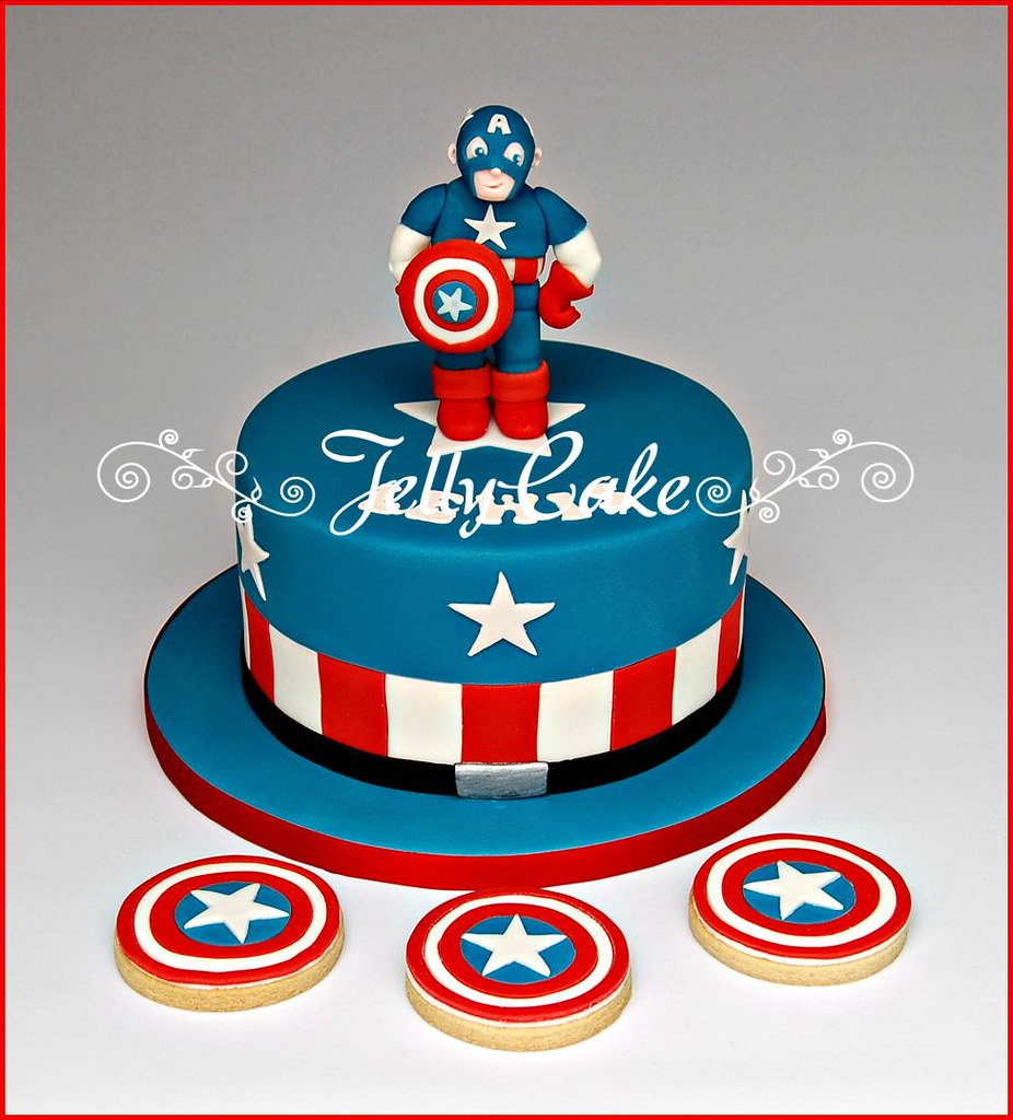Astonishing Captain America Birthday Cake A Captain America Style Birt Flickr Funny Birthday Cards Online Elaedamsfinfo
