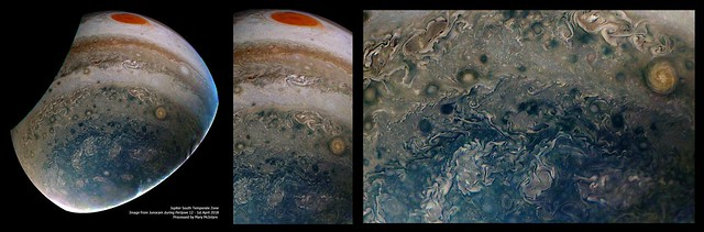 Jupiter's South Temporate Zone - From Junocam