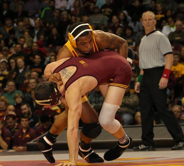 157 - Brandon Kingsley (Minnesota) fall Renaldo Rodriguez-Spencer (Iowa State) 4:31. Photo by Mark Beshey.