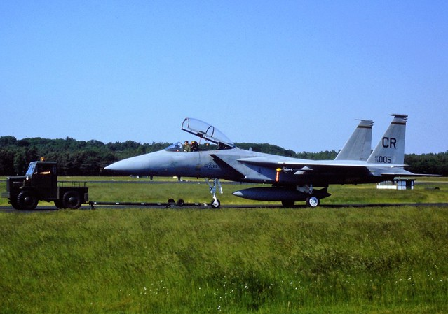 F-15D Eagle 79-0005/ CR 32nd Fighter Squadron USAFE. Photo taken on the taxi-track,