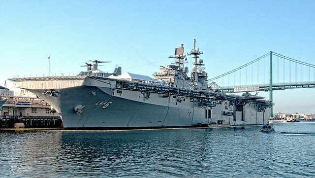 USS America and Vincent Thomas Bridge.