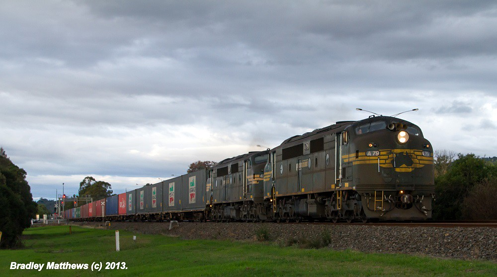 A79-A81 with 9462 up PN Maryvale Paper Train at Trafalgar (22/4/2013) by Bradley Matthews