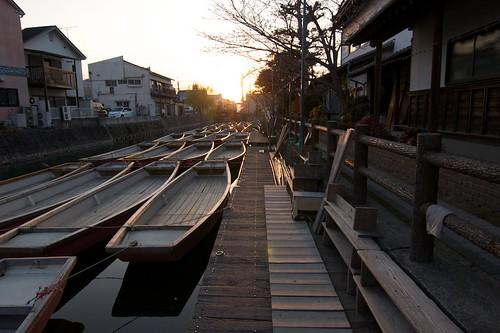 sunset japan river boat rest channel yanagawa