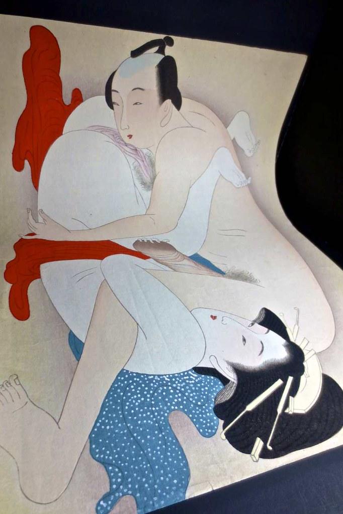 Antique shunga chinese hand painted erotic art on wood china banned