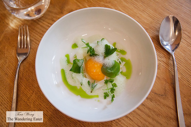 Egg, young garlic, verbena
