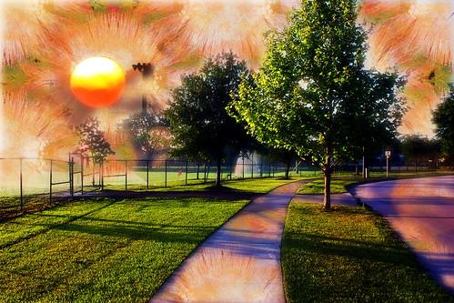 photomanipulation sunrise digitalart surreal hypothetical vividimagination wardpark artdigital arteffects greenscene awardtree exoticimage