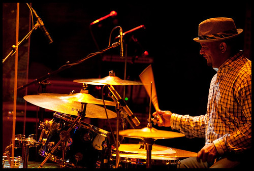 Drummer for Ike Stubblefield at WWOZ's Piano  Night.  Photo by Ryan Hodgson-Rigsbee www.rhrphoto.com 2