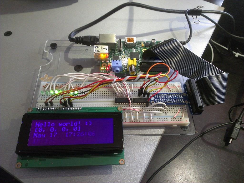 Raspberry Pi + chained shift registers + 20x4 LCD w/ RGB L
