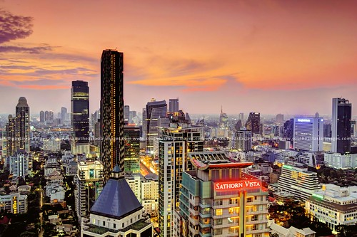city sunset rooftop skyscraper thailand cityscape view dusk bangkok hdr condominium themet sathornroad sathornvista