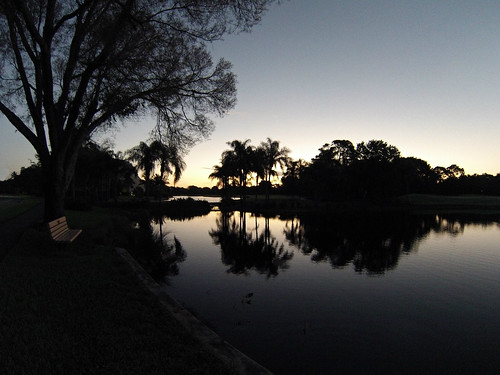 morning reflection silhouette sunrise bench pond naplesflorida pelicanbay swfl gopro hero3
