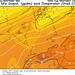 Předpověď teploty vhladině 850 hPa pro střední Evropu na 16.10., 12.00 UTC: vhladině 850 hPa (1500m) jsou očekávané teploty vJeseníkách aBeskydách okolo 11 až 12 °C. Výraznější inverze je patrná vrakouských Alpách. , foto: www.wetterzentrale.de