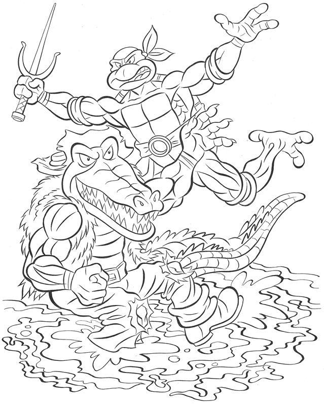 """THE TOYS TIME FORGOT :: FREE COMIC BOOK DAY; """"LEATHERHEAD v. RAPHAEL"""" art raffle ..pencils by Bruce Hatten, inks by RYAN BROWN (( 2013 )) by tOkKa"""