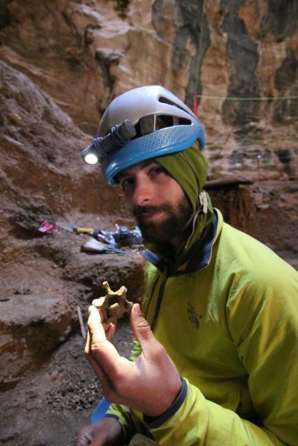 Ryan Gardner, unidentified vertebrae (Pleistocene), Natural Trap Cave, Bighorn Canyon National Recreation Area, Big Horn County, Wyoming