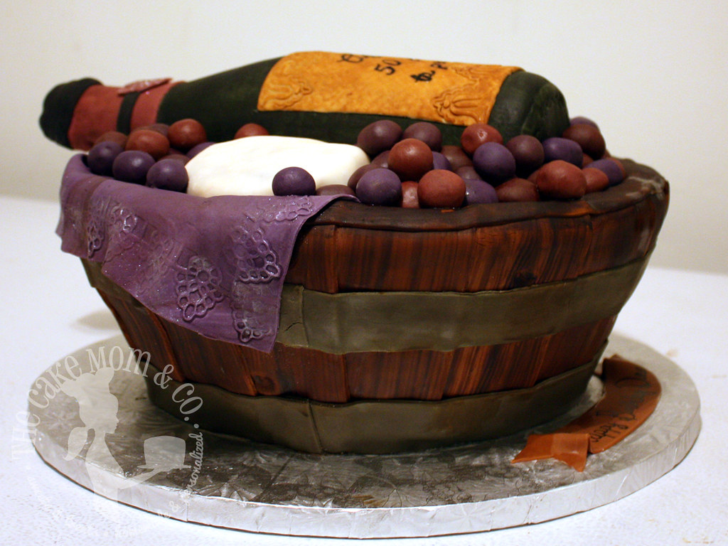 Awesome Wine Basket 50Th Birthday Cake The Amazing Cake Was Create Flickr Personalised Birthday Cards Veneteletsinfo