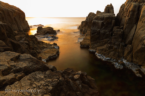 sunset sea rock japan spring 2013 fukuipref