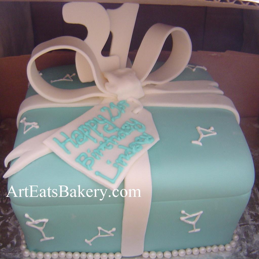 Remarkable Tiffany Blue Fondant T Box Custom Unique 21St Birthday Cake Personalised Birthday Cards Xaembasilily Jamesorg