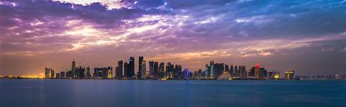 sunset sea panorama colors skyline clouds lens lights nikon towers f28 doha qatar d800 2470mm cityskape dohaskyline