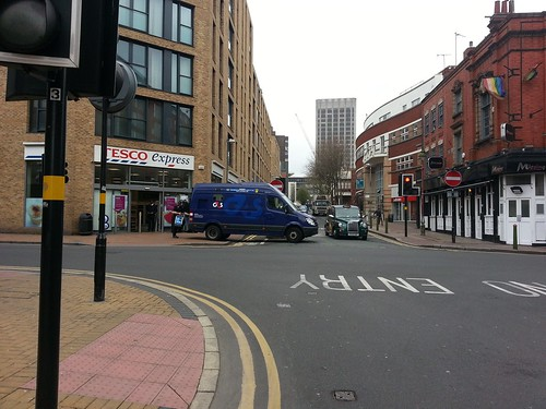 G4S Security van blocking cycle track in Birmingham outside Tesco