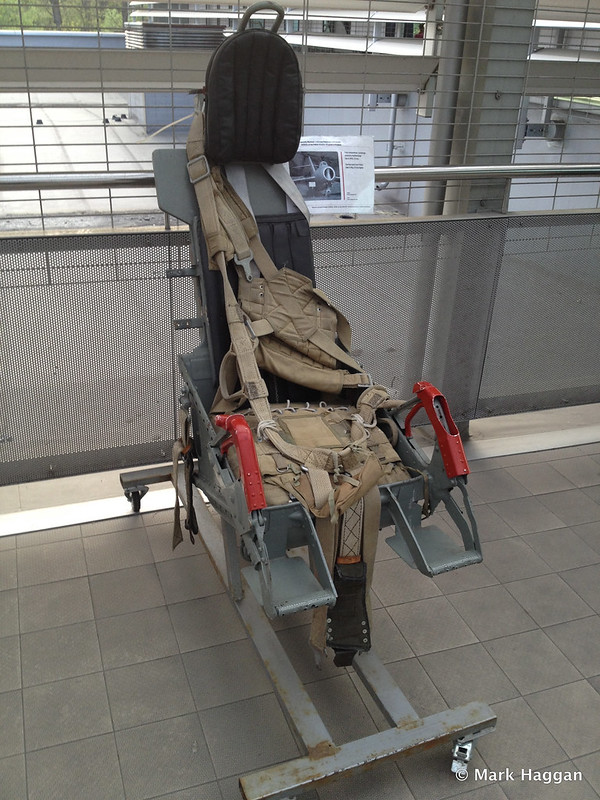 An ejector seat from a MiG-15 fighter aircraft at the Polish Aviation Museum, Krakow