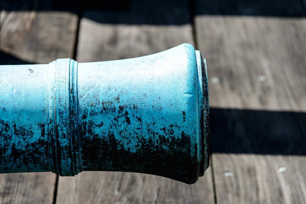 A blue cannon