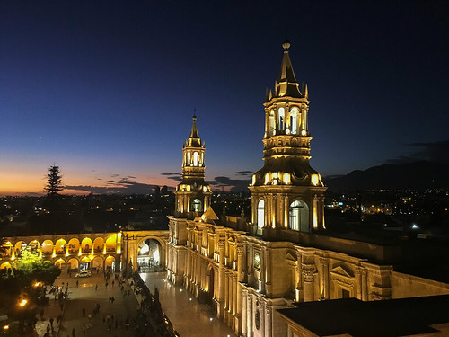 arequipa blue cathedral catholic church citycenter clouds dusk easter evening goodfriday historic historical latinamerica lights mainsquare mountains night peru plazadearmas sky southamerica sunset tourist violet