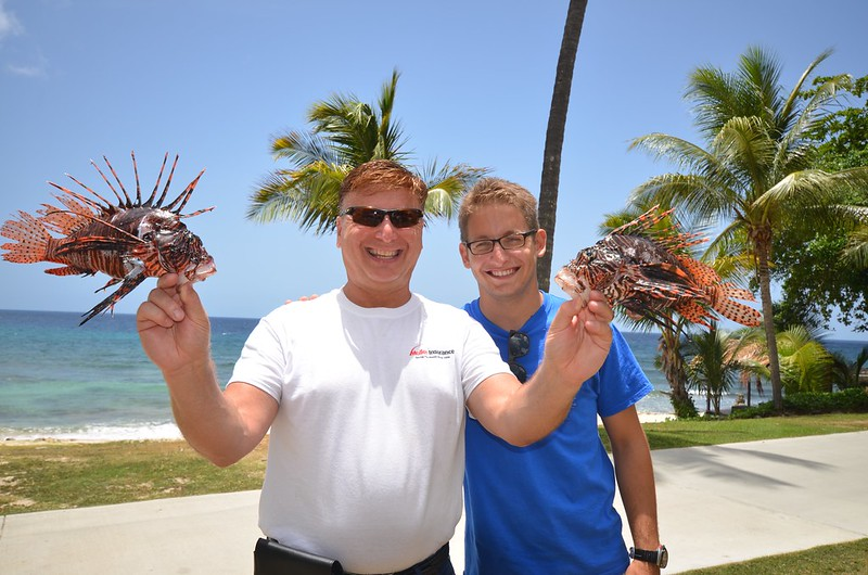 Roger J . Muller, Jr. and Tim Linse with 2 Nice Lionfish