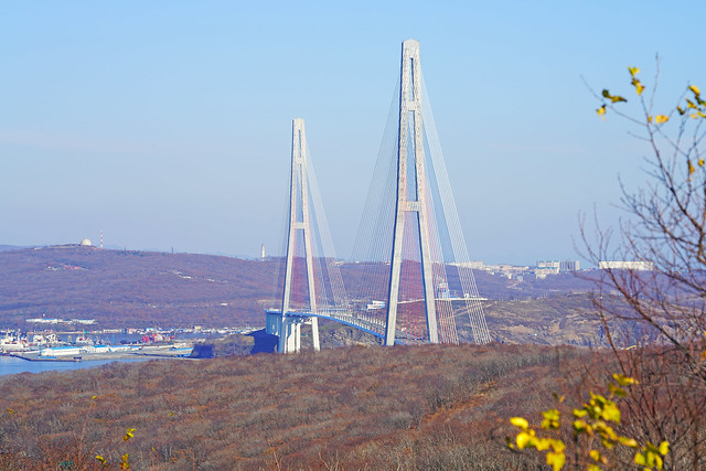 Pylons of Russkiy Island Bridge, Russia