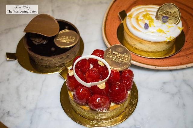 Chocolate tart, Raspberry tart, Lemon meringue tart