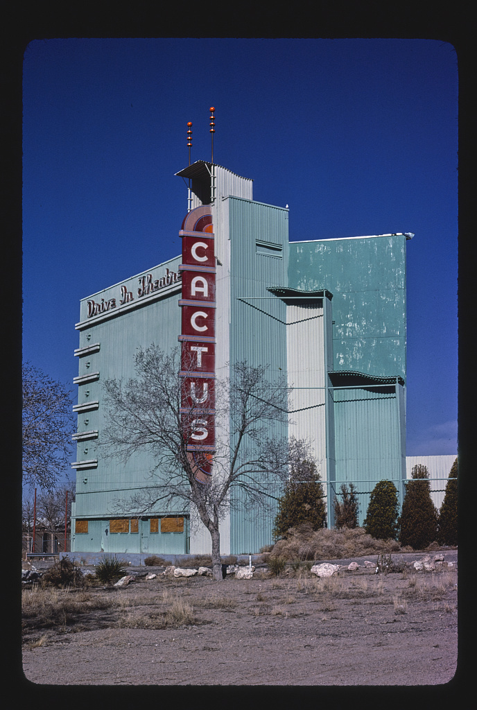 Cactus Drive-In Theater, vertical view, Marcy Yale Boulevard, Albuquerque, New Mexico (LOC)