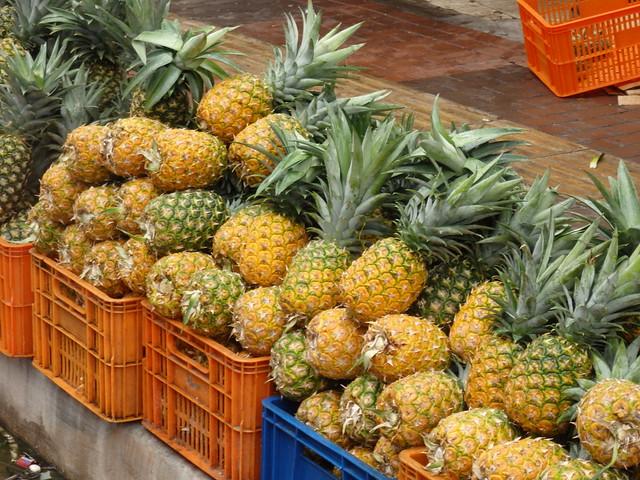 Pineaspples in a street market