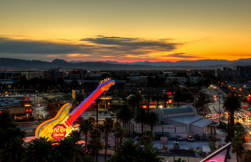 hard rock hotel casino neon sign sunrise sun morning las vegas nevada nv lasvegas hardrock neonsign color lasvegassunrise sunset