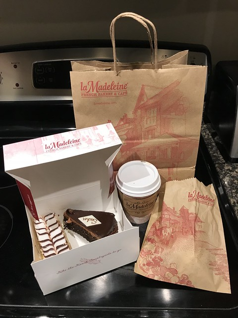Napoleon and Sacher Torte and hot mocha at La Madeleine French Bakery and Cafe