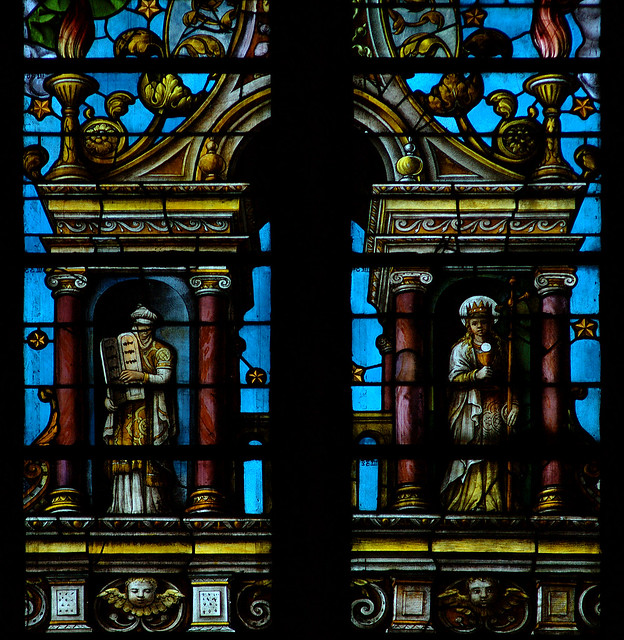 Luik, Wallonië, cathédrale St.-Paul, choir, stained-glass window, crucifixion, detail
