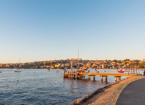 australia nsw watsonsbay pier boat bay sunset promenade water houses sky