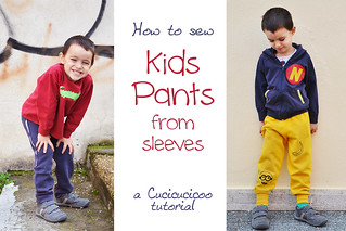 Sew pants for kids from repurposed sweatshirt sleeves