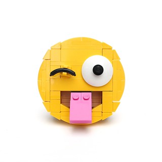 Brick-moji: Face with stuck-out tongue and winking eye | by Ochre Jelly