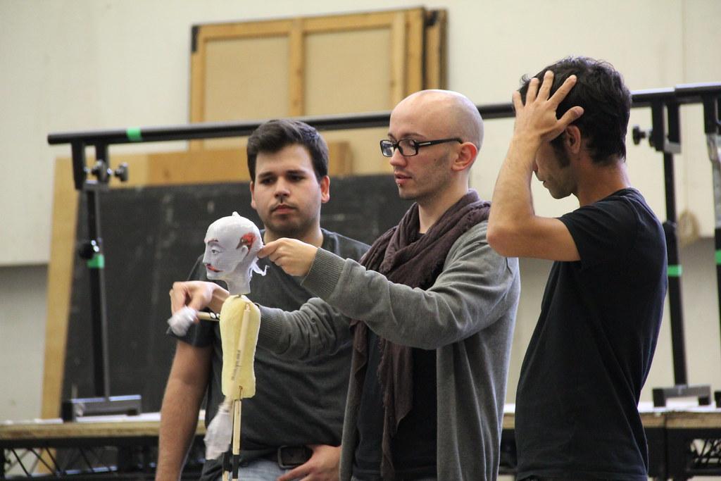 Luis Gomes, Pedro Ribeiro and Rui Rodrigues in rehearsals for El gato con botas © ROH / Katy Mitchell 2013