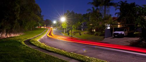 night track light city car landscape nikon d700 tree road