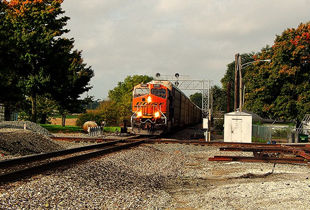 Eastbound BNSF crossing the Marion Branch at Claypool Indiana