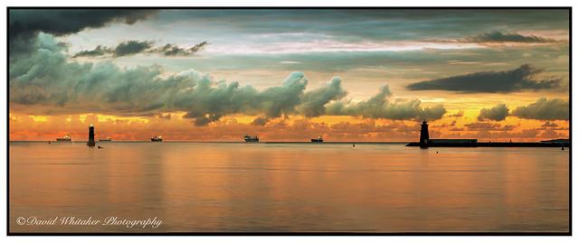 Ships waiting at dawn
