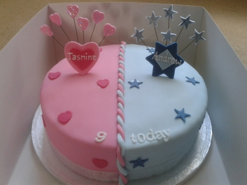 Joint Boy And Girl Birthday Cake