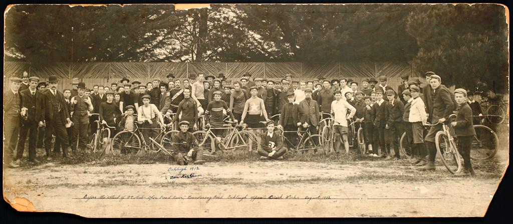 Before the start of the 25 Miles Open Road Race, Dandenong Road Oakleigh opposite Brick Works, 1912