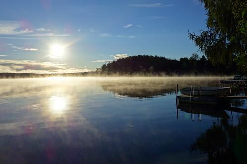 sunrise sun reflection lake water waterscape boat morning fog mist landcape summer august