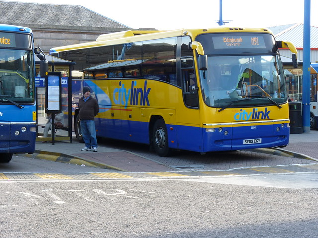 Stagecoach Highland Volvo B12B Plaxton Panther SV09EGY 53108 in Citylink livery operating the M91 service to Edinburgh at Inverness Bus Station (Farraline Park) on 14 September 2013.