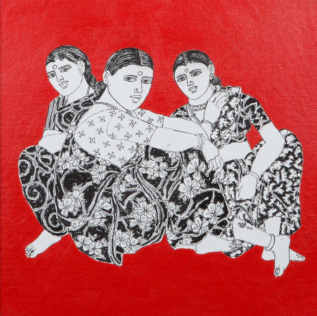 Laxman Aelay Song Of The Village Mixed Media On Canvas Flickr
