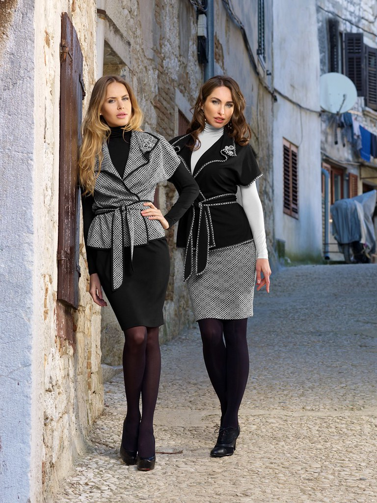 b007df059 ... two girls in tight pencil skirt tights and high heels   by Marc Schmier